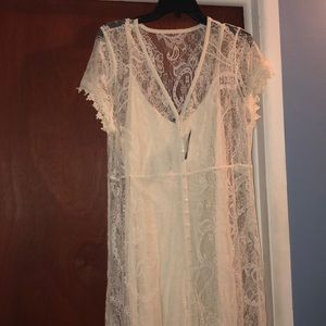 Ivory lace button front maxi dress